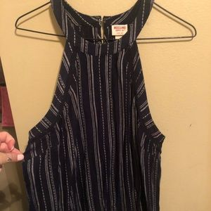Halter pin striped blue and white top